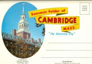 """6.01 CPC - """"Cambridge, Mass. Souvenir Folder of Cambridge, Mass."""" ca.1945-1960 [Tichnor Bros., Inc., Boston, MA]: Front cover"""