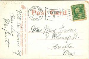 """6.02 CPC - """"Cambridge Waterfront, Cambridge, Mass."""" ca.1910 [Robbins Bros., Boston, MA] * (back)"""