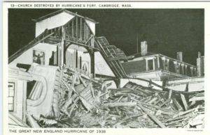 "6.04 CPC - ""Church destroyed by hurricane's fury, Cambridge, Mass. The Great New England Hurricane of 1938"" ca.1938-1950 [Tichnor Bros., Inc., Boston, MA] Photograph: Boston Post"