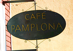 Sign at Café Pamplona in Cambridge