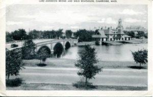 "1.02 CPC - ""Larz Anderson Bridge and Weld Boathouse, Cambridge, Mass."" ca.1915-1944"