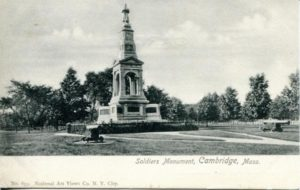 "1.08 CPC - ""Soldiers Monument, Cambridge, Mass."" ca.1902-1904 [National Art Views Co., NewYork City, NY]"