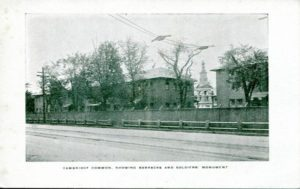 "1.13 CPC - ""Cambridge Common, Showing Barracks and Soldier's Monument"" ca.1900-1950"