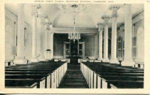 """1.16 CPC - """"Interior, Christ Church, Protestant Episcopal, Cambridge, Mass."""" ca. 1936-1944 [United Art Co., Boston, MA]"""