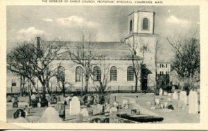 """1.18 CPC – """"Exterior of Christ Church, Protestant Episcopal, Cambridge, Mass."""" ca. 1936-1944 [United Art Co., Boston, MA]"""