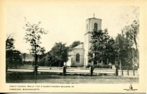 """1.20 CPC - """"Christ Church. (Built 1761.) Oldest Church Building in Cambridge, Massachusetts"""" ca.1920-1939 [Published for the Cambridge Historical Society by Maynard Workshop, Waban, MA]"""