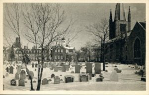 "1.22 CPC - ""Christ Church Graveyard in midwinter, Cambridge"" ca. 1938-1941 [American Scene, New Haven, CT] Photograph: Samuel Chamberlain"