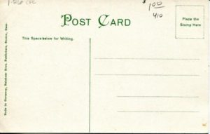 """1.26 CPC - """"First Unitarian Church, Cambridge, Mass."""" ca.1906-1914 [Reichner Bros. Publishers, Boston, MA and Munchen, Germany] (back)"""