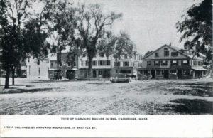 """1.30 CPC - """"View of Harvard Square in 1865, Cambridge, Mass."""" ca.1901-1907 [Harvard Bookstore, Cambridge, MA]"""