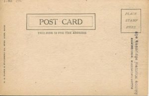 """1.30 CPC - """"View of Harvard Square in 1865, Cambridge, Mass."""" ca.1901-1907 [Harvard Bookstore, Cambridge, MA] (back)"""