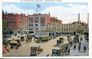 """1.33 CPC - """"Harvard Square, Cambridge, MA"""" ca. 1936-1944 [United Art Co., Boston, MA]"""