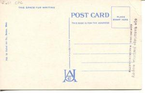 """2.01 CPC - """"151: - Central Square, Cambridge, Mass."""" ca. 1936-1944 [United Art Co., Boston, MA] (back)"""