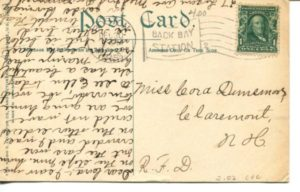 "2.02 CPC - ""Cambridge, Mass. Central Square and Massachusetts Ave."" ca.1906-1909 [Hugh Leighton Co., Portland, ME] * (back)"