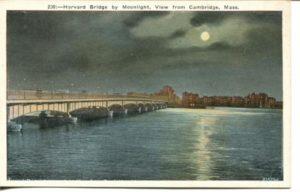 "2.04 CPC - ""230 – Harvard Bridge by Moonlight, View from Cambridge, Mass."" ca. 1920-1929 [M. Abrams, Roxbury, MA]"