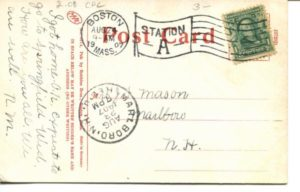 "2.08 CPC - ""New Bridge, Cambridgeport, Mass."" ca.1907 [Robbins Bros., Boston, MA] * (back)"