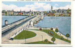 """2.09 CPC - """"66: - West Boston Bridge, Boston, Mass."""" ca.1936-1944 [United Art Co., Boston, MA]"""