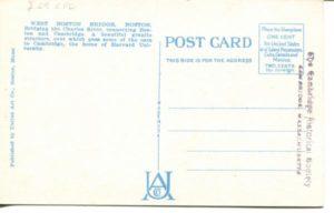 """2.09 CPC - """"66: - West Boston Bridge, Boston, Mass."""" ca.1936-1944 [United Art Co., Boston, MA] (back)"""