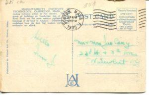 "2.15 CPC - ""24: - Massachusetts Institute of Technology, Cambridge, Mass."" ca.1935 [United Art Co., Boston, MA] * (back)"