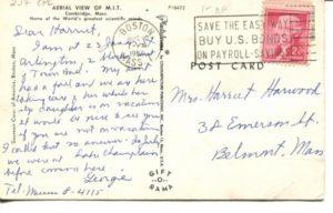 2.17 CPC - Aerial view of M.I.T. ca.1956 [Souvenir Corp. of America, Boston MA] * (back)