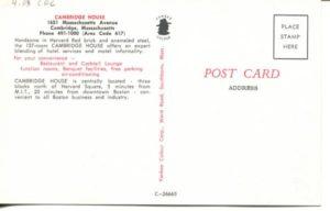 "4.03 CPC - ""Cambridge House, Motor Hotel, Cambridge, Massachusetts"" ca.1960-1980 [Yankee Colour Corporation, Southborough, MA] (back)"