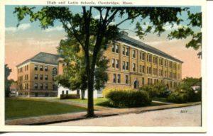 "4.05 CPC - ""High and Latin Schools, Cambridge, Mass."" ca. 1920-1929 [M. Abrams, Roxbury, MA]"