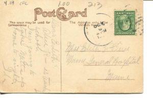 """4.09 CPC - """"Public Library, Cambridge, Mass."""" ca.1907-1914 [no publisher] * (back)"""