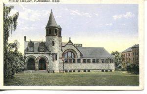 """4.10 CPC - """"Public Library, Cambridge, Mass."""" ca. 1920-1929 [M. Abrams, Roxbury, MA]"""