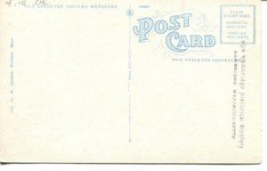 """4.10 CPC - """"Public Library, Cambridge, Mass."""" ca. 1920-1929 [M. Abrams, Roxbury, MA] (back)"""