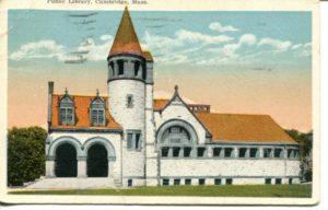 """4.11 CPC - """"Public Library, Cambridge, Mass."""" ca.1923 [M. Abrams, Roxbury, MA] *"""