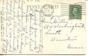 """4.11 CPC - """"Public Library, Cambridge, Mass."""" ca.1923 [M. Abrams, Roxbury, MA] * (back)"""