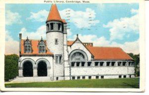 """4.12 CPC - """"Public Library, Cambridge, Mass."""" ca.1936 [United Art Co., Boston, MA] *"""