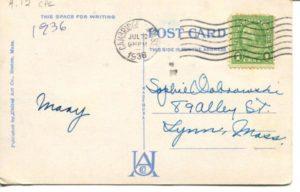 """4.12 CPC - """"Public Library, Cambridge, Mass."""" ca.1936 [United Art Co., Boston, MA] * (back)"""