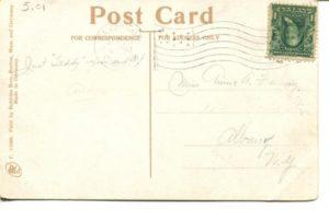 "5.01 CPC - ""Fresh Pond Drive Way, Cambridge, Mass."" ca.1908 [Robbins Bros., Boston, MA] * (back)"