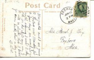 "5.03 CPC - ""Picnic Grove at Fresh Pond, Cambridge, Mass."" ca.1909 [Robbins Bros., Boston, MA] * (back)"