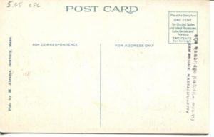 "5.05 CPC - ""Fresh Pond, Driveway, Cambridge, Mass."" ca. 1920-1929 [M. Abrams, Roxbury, MA] (back)"