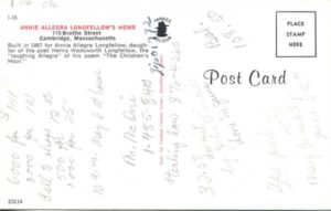 1.100 CPC - Annie Allegra Longfellow's Home ca.1960-1980 [Yankee Colour Corporation, Southborough, MA * (back)