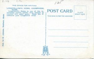"1.106 CPC - ""Longfellow House, Cambridge, Mass."" ca.1920-1929 [M. Abrams, Roxbury, MA] (back)"