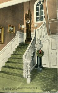 """1.113 CPC - """"Old clock on the Stairs, Longfellow's Home, Cambridge, Mass. 60702"""" ca.1907-1912 [no publisher] *"""