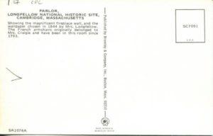 1.117 CPC - Parlor, Longfellow National Historic Site, Cambridge, Massachusetts ca.1960-1996 [Bromley & Co, Inc., Boston, MA] (back)