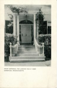 """1.85 CPC - """"Front Entrance, The Larches (built 1808) Cambridge, Massachusetts"""" ca.1920-1939 [Published for the Cambridge Historical Society by Maynard Workshop, Waban, MA] *"""