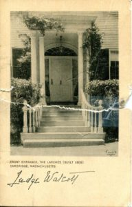 """1.86 CPC - """"Front Entrance, The Larches (built 1808) Cambridge, Massachusetts"""" ca.1920-1939 [Published for the Cambridge Historical Society by Maynard Workshop, Waban, MA] *"""
