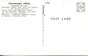 """1.98 CPC - """"Commander Hotel"""" ca.1950-1969 [Colourpicture Publishers, Inc., Boston, MA] (back)"""