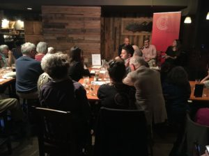 """""""the facts"""" History Cafe crowd/speakers"""
