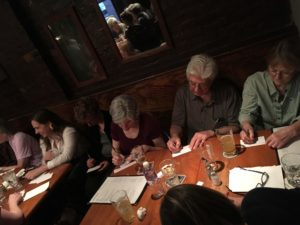 """""""the facts"""" History Cafe crowd writing"""